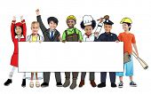 Group of Children in Dreams Job Uniform Holding Banner with Copy Space