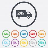 24 hours delivery service. Cargo truck symbol.