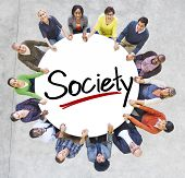 Group of People Holding Hands Around Letter Society
