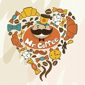 Heart Shape Made Of Candy, Sweets, Cup, Lettering, Man And Coffee Things. Vector Vintage Background