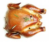 picture of spit-roast  - Roast chicken isolated on white background - JPG