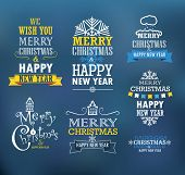 Merry Christmas and a happy New Year wishes. Design elements
