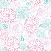 Pink Blue Flowers Lineart Seamless Pattern Background
