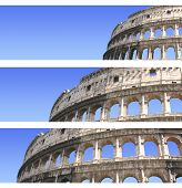 Collection of banners with Colosseum, Rome, Italy