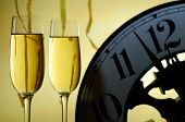 Two Glasses And A Clock Ready For A New Year