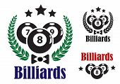 Billiards badges or emblems