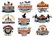 picture of witches cauldron  - Large set of Halloween party vector designs with assorted text decorated with cats - JPG