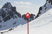 Down Arrow Sign On Ski Slope