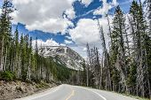 Lonely Mountain Road, Bright Sky, Clouds