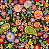 Easter floral wallpaper with colorful eggs. Raster copy