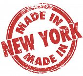 Made in New York words on round stamp, badge, logo or emblem to show pride in goods and products pro