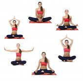 Collage of young beautiful fitness girl doing yoga exercise isolated on white
