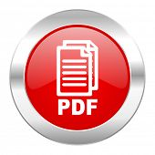 pdf red circle chrome web icon isolated,