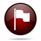 flag red glossy web icon on white background