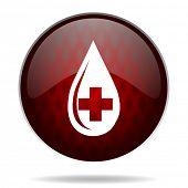 blood red glossy web icon on white background