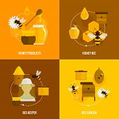 Bee honey icons flat