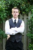 Serious Prom Boy With Arms Folded