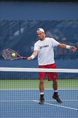 Two times Grand Slam Champion Lleyton Hewitt practices for US Open 2014