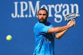 Professional tennis player Marcos Baghdatis from Cyprus practices for US Open 2014