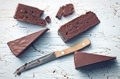 top view of pieces of sacher cake