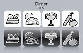 Dinner menu food and drink icons. Set of editable vector monochrome illustrations.