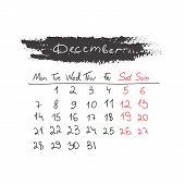 Handdrawn calendar December 2015. Vector.