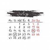Handdrawn calendar July 2015. Vector.