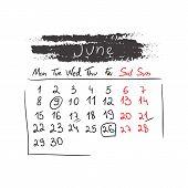 Handdrawn calendar June 2015. Vector.