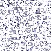 pic of drow  - Doodle hand drow  sketchy seo  icons  in seamless pattern - JPG