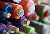 A big amount of spools with colorful threads