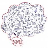 stock photo of drow  - Doodle hand drow circle composition sketchy seo  icons in Speak bubble - JPG