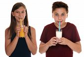 Healthy Eating Children Drinking Milk And Orange Juice