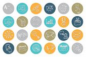 stock photo of drow  - Doodle hand drow business seo sketchy icons on colored circle - JPG