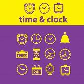 time, clock icons, signs, symbols, illustrations set, vector