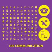 100 communication, connection, internet, phone, network isolated icons, signs, illustrations, silhou