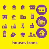 houses, buildings isolated icons, signs, illustrations, silhouettes set, vector on background for web and mobile