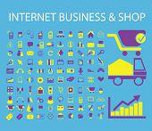 internet business, store, e-commerce icons, signs, symbols, illustrations, vectors set