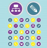 business application, app isolated buttons, icons, signs, illustrations, silhouettes set, vector on
