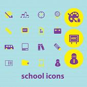 school, learning, study isolated icons, signs, illustrations, silhouettes set, vector on background for web and mobile