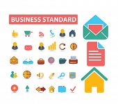 business, bank, management illustrations, icons, signs, silhouettes set, vector