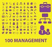 100 management, marketing icons, signs, symbols, illustrations, vectors set