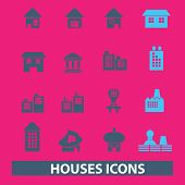 houses, buildings illustrations, icons, signs, silhouettes set, vector
