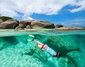 Split photo of young woman snorkeling in turquoise ocean water granite boulders on Virgin Gorda, British Virgin Islands, Caribbean