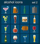 Alcohol Drinks Icons. 16 Flat Icons Set