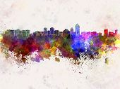 Albuquerque Skyline In Watercolor Background