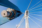 Modern Cable Bridge Pylon Against Blue Sky