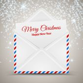 Open envelope and card Merry Christmas, vector illustration.