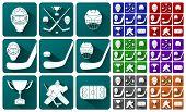 Set Of Icons On A Hockey Theme