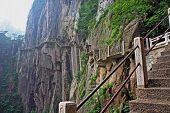 stock photo of shan  - The pathway made on the vertical of a mountain Huang Shan  - JPG