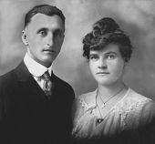 Vintage Man  Woman 1910 Wedding Portrait